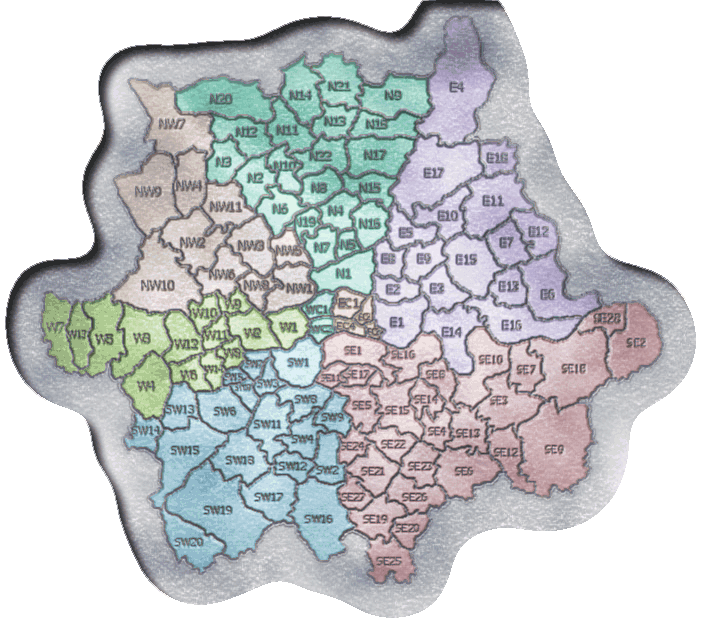 London postcodes map